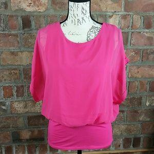Barbie pink sheer layered top